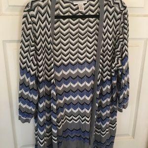 Blue/Gray/White/Black chevron cardigan